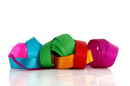 Beautiful colored ribbons against the white background