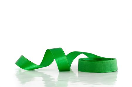 Green ribbon against the white background