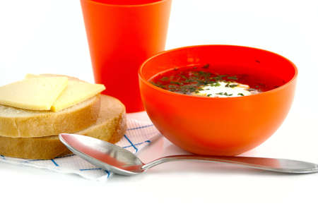 Vegetable soup with the sour cream against the white background Stock Photo - 6566975