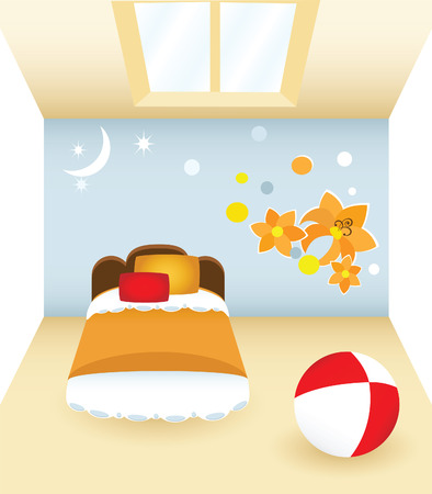 Childrens bedroom with the orange flowers and the toy Vector