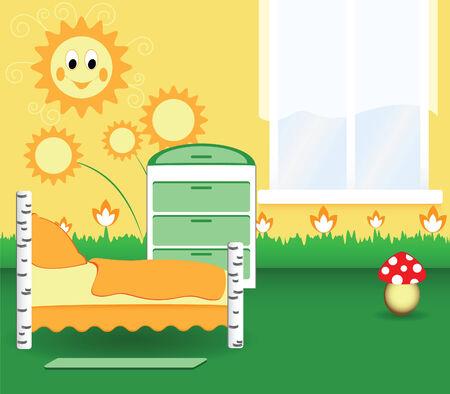 awaiting: Dormitorio de vivero con las flores de color naranjas y el juguete
