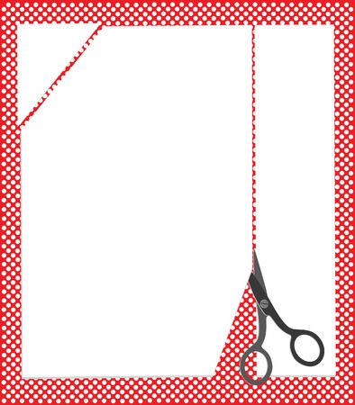 Scissors cut the clean sheet of the paper