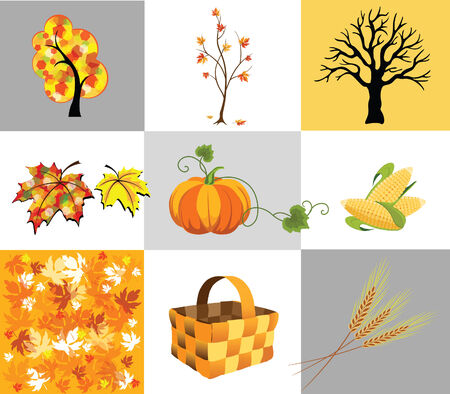 Several icons of autumn, trees and vegetables Stock Vector - 7544201