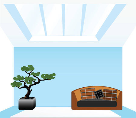 Living room with a sofa on a blue background Stock Vector - 7544198