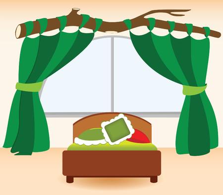 decorando: Dormitorios de ilustraci�n infantiles en forma de dibujos animados  Vectores