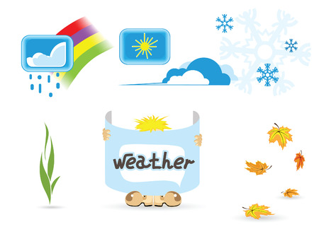 Illustration of weather icons against the white background Stock Vector - 7962413