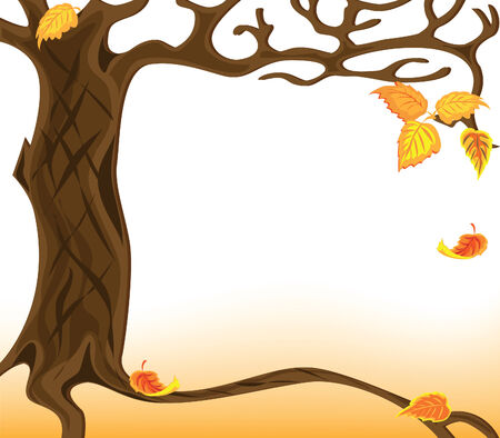 Illustration of the autumnal falling of the leaves Stock Vector - 7962414