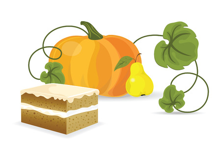 Piece of pumkin pirogue against the white background  Vector