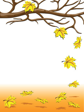 Illustration of the autumnal falling of the leaves  Illustration