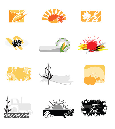 Illustration of autumnal icons against the white background