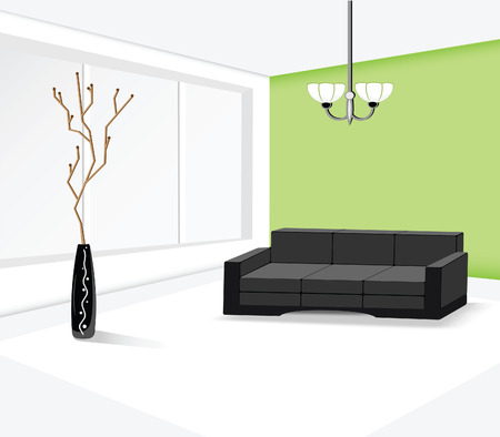 Illustration of the contemporary design of the guest room Illustration