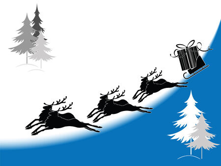 Christmas postcard with the silhouette of the reindeer  Illustration