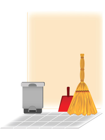 Objects for the cleaning on the kitchen   Illustration