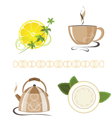 foodstuffs: Illustration of kitchen objects against the white background Illustration