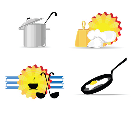 Illustration of kitchen objects against the white background Illustration