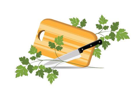 viveres: Ilustraci�n de la Junta de cocina para cortar los productos alimenticios