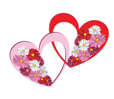 Illustration of decorative heart with the daisies against the white background