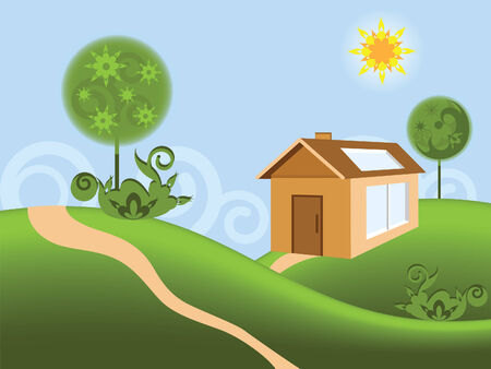 Illustration of new house in the rural locality Vector