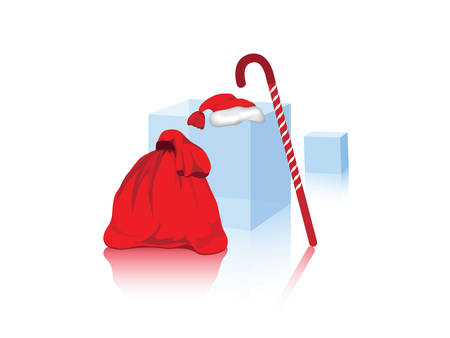 Santa`s bag with the gifts against the white background Illustration