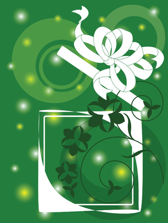 Illustration of box with the gift against the green background Vector
