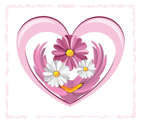 Illustration of decorative heart with the daisies against the white background Stock Vector - 8659927