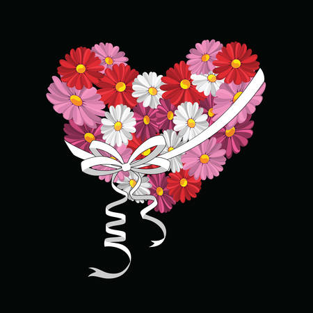 Illustration of decorative heart with the daisies against the black background
