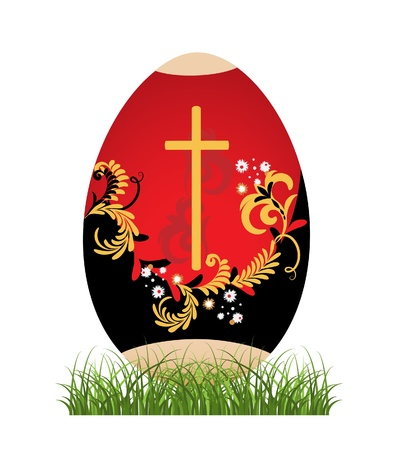 Painted Easter egg against the white background