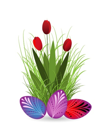 Tulips and Easter eggs against the white background