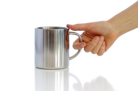 Metallic cup against the white background