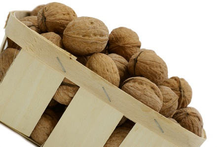 Basket with the walnuts against the white background