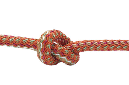 Simple rope knot on a white