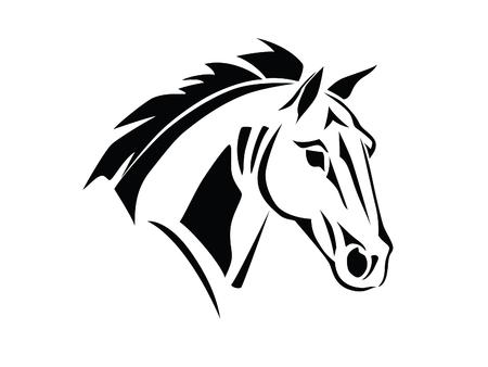 Stencil van een paard hoofd op een witte achtergrond