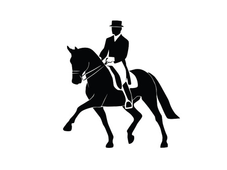Silhouette of a dressage horse and rider on a white background Çizim