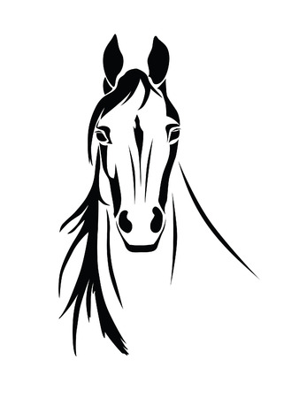 Stencil a horse's head on a white background
