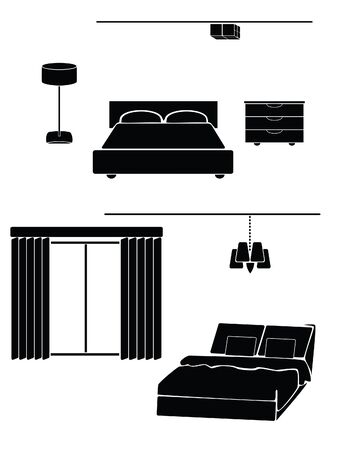 A simple illustration of a bedroom on a white background