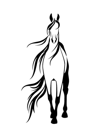 Stencil a horse on a white background Stock Illustratie