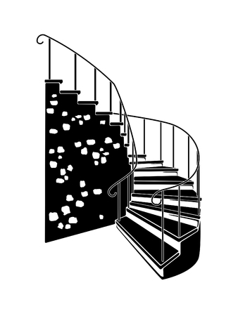 Black and white illustration of stairs indoors.