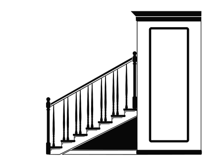 Illustration of a staircase indoors.