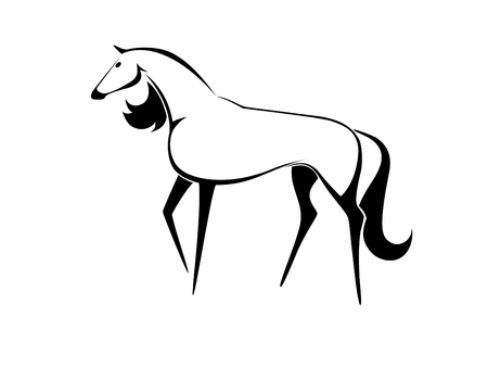 Stencil a horse on a white background Illustration
