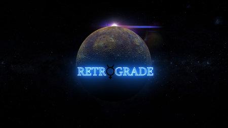 planet mercury enters retrograde in aquarius 3d illustration