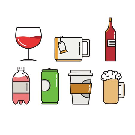 jarra de cerveza: Colorful vector icons of wineglass, cap for tea, wine bottle, bottle with gass, jar and beer cap on white background. Illustration in vector. Vectores