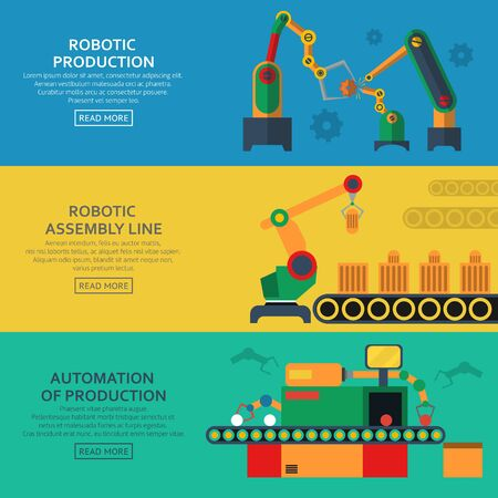 assembly line: Automation horizontal banners set with assembly line and robotic loaders symbols flat isolated. Vector illustration.