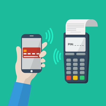 techology: Flat icon with mobile technology, online shopping, web wallet, nfc, online banking concept. Smartphone with human hand. Vector infografhic elements for online techology concept. Mobile payment. Illustration