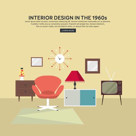 lava lamp: Retro interior living room with cabinet, TV, armchair, lava lamp, retro clock. Flat design. Vector illustration.