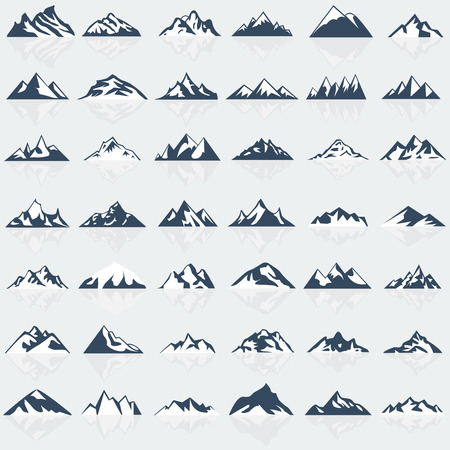 Big mountain icons set. Vector illustration.