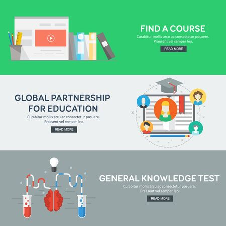 global partnership: Flat design concepts for general knowledge, global partnership, find a course. Concepts for web banners and promotional materials. Vector illustration. Stock Photo