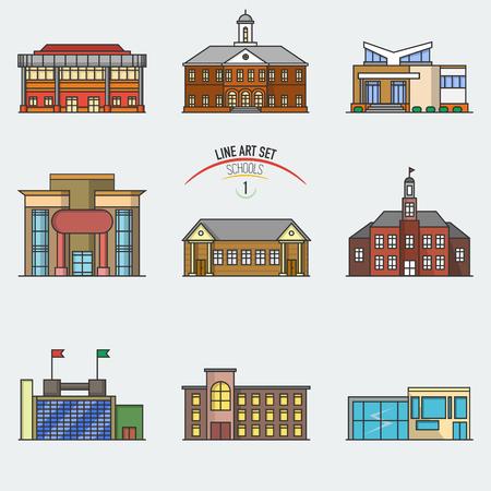 벡터 학교 건물 선형 스타일에서 설정합니다. 격리 된 다른 아키텍처 형태의 학교 건물 건물에 선 아이콘 컬렉션.