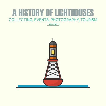 navigational: Vector lighthouse logo design templates in trendy linear style - abstract emblems and badges - navigational and travel concepts.