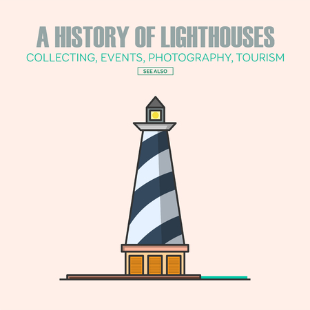 navigational: Vector lighthouse  design templates in trendy linear style - abstract emblems and badges - navigational and travel concepts.