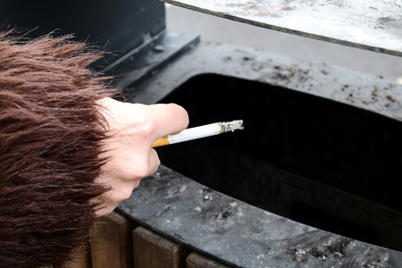 the hand with the cigarette Stock Photo